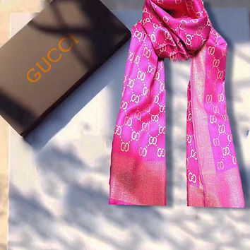 Gucci Scarf Fashion Women Men Easy to match Silk Scarf