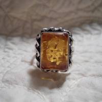 Size 8.5 Amber Resin Sterling Silver 925 Overlay Ring Southwest Sundance Style Artisan Ethnic Country Wear