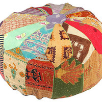 One Kings Lane - Spiced-Up Style - Hand-Stitched Kantha Pouf, Isabis