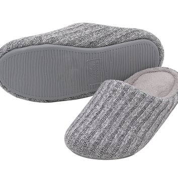 HomeIdeas Women's Cashmere Cotton Knitted Anti-Slip House Slippers, Spring Summer Breathable Indoor Shoes