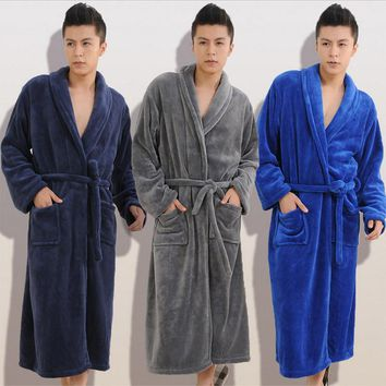 Winter Autumn  thick  flannel men's women's  Bath Robes  gentlemen's homewear male sleepwear lounges pajamas pyjamas