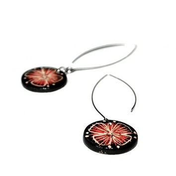 Ceramic carved floral earrings - black-red Butterfly flower romantic for summer, gift for women and girls