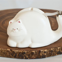 Quirky Takahashi Japanese Cat Tape Dispenser, White Kitten Tape Holder, Desk Organization and Office