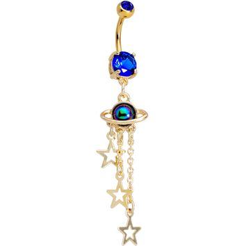 Blue Gem Gold PVD UFO Super Solar System Dangle Belly Ring