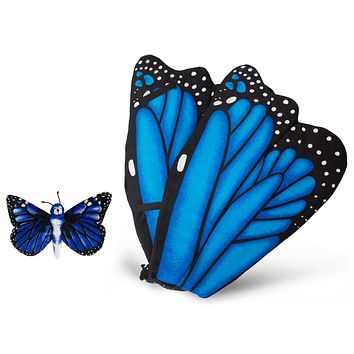 Plush Blue Morpho Butterfly Wings with Baby Stuffed Animal Plush Toy Blue Butterfly Bundle for Pretend Play Animals Dress Up