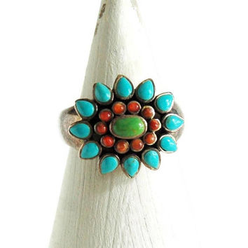 Turquoise Ring Sterling Silver by Barse Size 8, Multi Stone Ring, Statement Ring, Gemstone Ring, Red Coral Gaspeite, Southwestern Style Ring