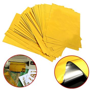 100 Sheets A4 Gold Hot Stamping Transfer Foil Paper Laminator Laminating Laser Printer Business Card DIY Craft Supplies 29x21cm