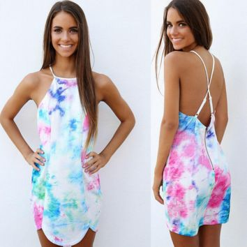 Fashion sexy coloured drawing or pattern printing backless dress