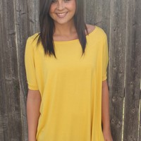 La'Rue Essential Piko Tunic - Short Sleeve - Mustard | Piko Tops | Kiki LaRue Boutique