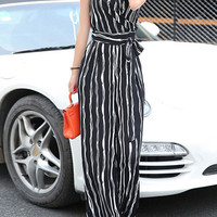 Stripe Sleeveless Tie-Waist Jumpsuit