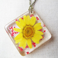 Dried Chrysanthemum Necklace, Pressed flower, Barberton daisy, Queen Anne's ,botanical necklace, real flower jewelry, clear resin necklace