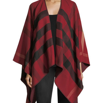 Burberry Charlotte Check-To-Solid Wool Cape, Red | Neiman Marcus