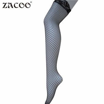 ZACOO Women hot Black White Lace Cute Fence Net Leggings Thigh High Long stockings 2017 fashion sexy Silk Stockings zk25