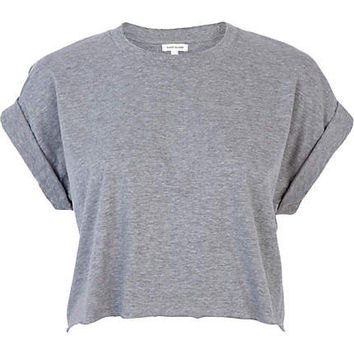 Grey short sleeve boxy cropped t-shirt - crop t-shirts - t shirts / tanks / sweats - women