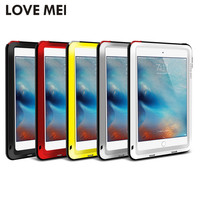 "Love Mei Brand Cover Case for Apple iPad Air/Air 2/Mini 4/Pro 9.7"" Powerful Shockproof Anti-Fall Aluminum Case w/ Tempered Glass"