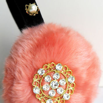 embellished faux fur earmuffs with pearls,scream queens,ear muffs,beaded earmuffs,halloween,ear warmers, plush ear muffs, fluffy earmuffs