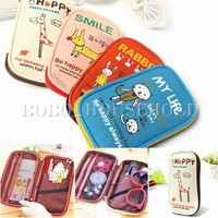 Cute Cartoon Animals Canvas Pencil  Pen Case Girl Cosmetic Makeup Bag Pouch