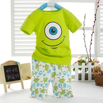 Kids Boys Cartoon Short Sleeved T-shirt and Short Trousers Outfits Aged 1-7Y
