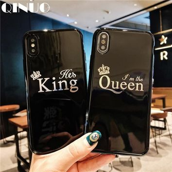 QINUO Luxury Couple Case For iPhone 6 6s 7 8 X Glossy Crown King Queen Letter Soft TPU Case For iPhone 7 Plus Covers Funda Capa