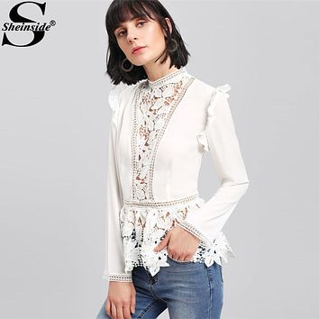 Sheinside 2017 Stand Collar Long Sleeve Tiered Layer Slim Fit Blouse White Frilled Shoulder Lace Insert Peplum Elegant Blouse
