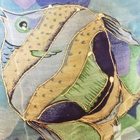 Vintage Scarf, Fish And Flower Motif, Vintage Accessory, Handpainted Outline, Ocean/Beach Themed, Versatile, Craft/DIY Project