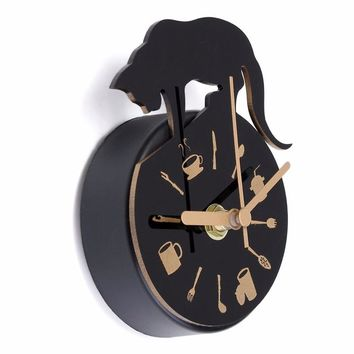 Modern Clock Refrigerator Kitchen Wall Clock Cat Design message posted Holder Home Decor