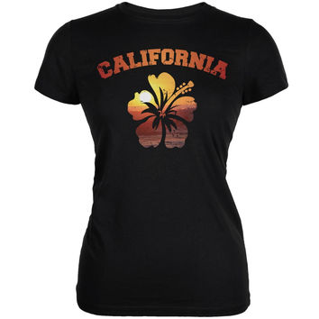 California Hibiscus Black Juniors Soft T-Shirt