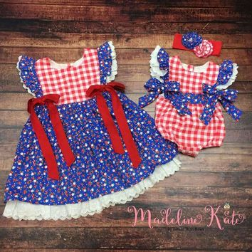 RTS Sale! 30% OFF! Madeline Kate Freedom Blooms Collection, Baby Girl Bubble Romper, Girls Dress, Summer Dress