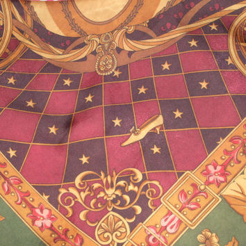Goregeous Vtg. Longchamp Paris Silk Printed Scarf 34 x 33