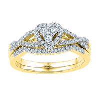 10k Yellow Gold Womens Round Diamond Heart Cluster Bridal Wedding Engagement Ring Set 3/8 Cttw 97297