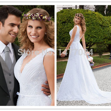 2015 Vestidos De Noiva Backless Wedding Dress Lace Country Style Wedding Dresses Vestido Noiva Casamento Robe De Mariage