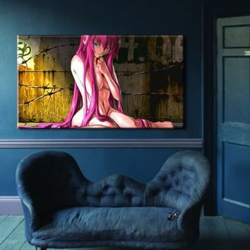 "Box Framed Canvas Print Artwork Stretched Gallery Wrapped Wall Art Painting Hanging Original Decorative Modern Home & Living Decor Anime Comics Girl Sexy Nude Manga Like Painting Large Size 26x46"" (Canm10)"
