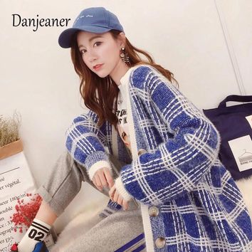 Danjeaner Winter Long Cardigan Women's Lazy Wind Harajuku Plaid Sweater Korean Version Streetwear Knitting Coats Jumpers Pull