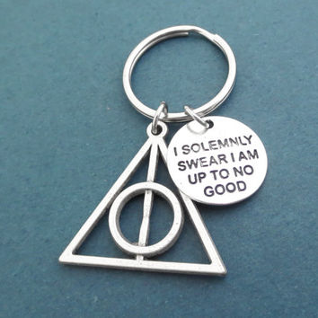 I am solemnly sear I am up to no good, Pyramid, Key chain, Movie inspired, Key ring, Birthday, Best friends, Christmas, Gift, Jewelry