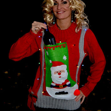 liquor or Wine Holder Ugly Christmas Sweater, Light up, Women's Large, santa stocking, alcohol, wine, novelty, wine holder, party sweater