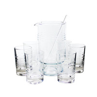 Vintage Martini Set, Cocktail Pitcher, Clear Etched Glass, Princess House Heritage Crystal