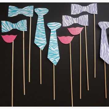 Very Cute Photo Booth Prop Set of 12 Zebra/Glitter Style FREE SHIPPING