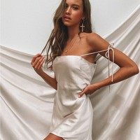 The Silk Slip Mini Dress Champagne | Princess Polly