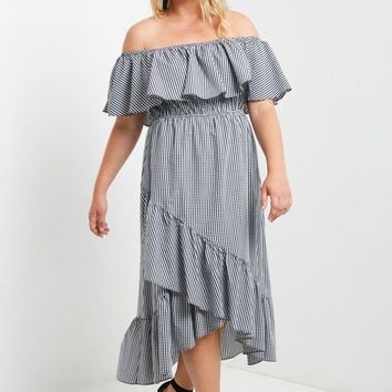 Afternoon Gingham Off the Shoulder Maxi Dress Plus Size