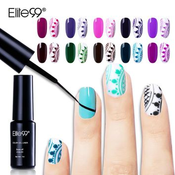 Elite99 Color Gel Liner 7ml Nail Gel Polish Painting Manicure Soak Off DIY Smooth Liner Drawing Gel UV LED Cure 30 Colors