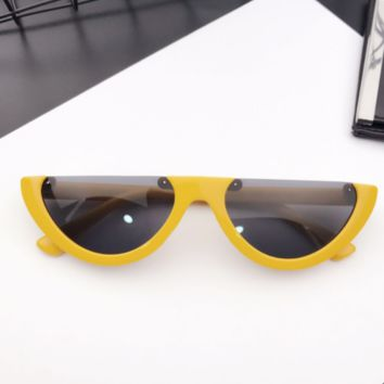 Eyecandy Half Frame Sunglasses - Yellow/black
