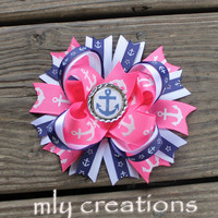 Pink anchor hair bow, pink navy and white, anchor hair bow, nautical hair bow, boutique hair bow, girls hair bow, stacked hair bow, sailor