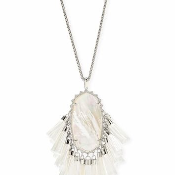 Kendra Scott: Betsy Silver Long Pendant Necklace In Ivory Mother Of Pearl