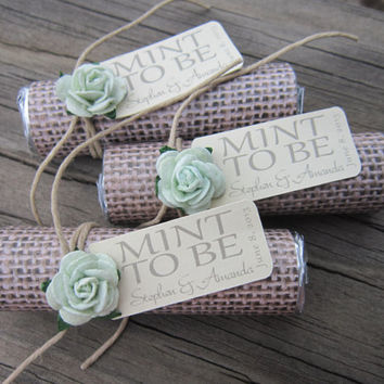 "Mint wedding Favors - Set of 24 mint rolls - ""Mint to be"" favors with personalized tag - burlap, mint green, mint, rustic, shabby chic"