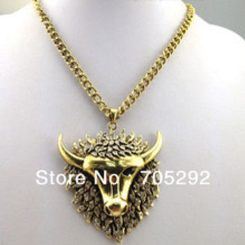 New Fashion Trendy Tauren necklace Exaggerated Long Bull Horn Crystal Necklaces Free Shipping
