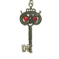 Owl Skeleton Key Necklace Vintage Red Crystal Eyed ND02 Antique Bird Pendant Fashion Jewelry