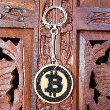"4"" Bitcoin Keychain - Wood Burned Keychain, Pyrography Art, Wood Keychain, Bitcoin"