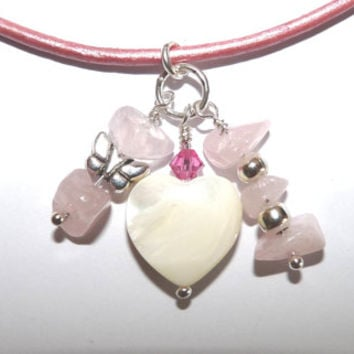Necklace, Pink, Rose Quartz, Heart Pendant, Swarovski Crystals, Leather Cord, Mother of Pearl, MOP, Hand Crafted, Mothers Day, Gift Wrapped