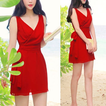 New Sexy Women Summer V-Neck Short Evening Party Dress Beach Dresses   SV007358 (Size: M, Color: Red)