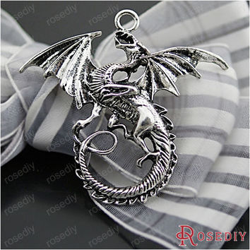 (27063-G)2PCS 47*43MM Antique Silver Plated Zinc Alloy Necklaces Pendants Dragon Pendants Diy Handmade Jewelry Findings